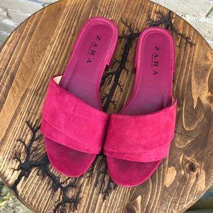 Zara Trafaluc Raspberry Suede Slide Sandals 6